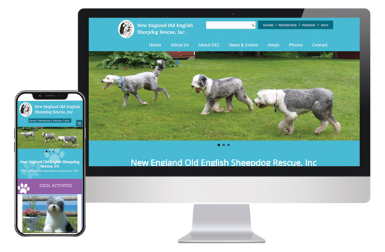Website redesign for New England Old English Sheepdog Rescue